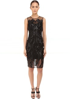 Marchesa Sleeveless Cocktail with Sequin and Ribbon Embroidery