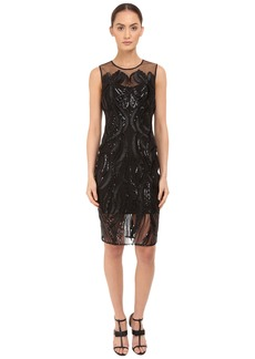 Marchesa Notte Sleeveless Cocktail with Sequin and Ribbon Embroidery