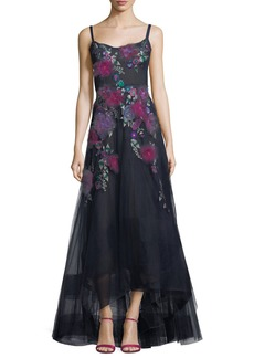 Marchesa Sleeveless Corset High-Low Floral Gown