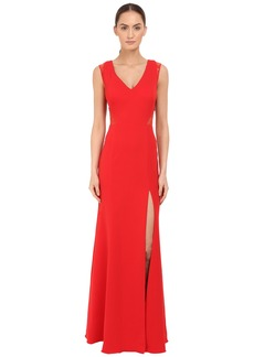Marchesa Notte Sleeveless Crepe Gown with Slit and Illusion Re-Embroidered Lace Cut Outs