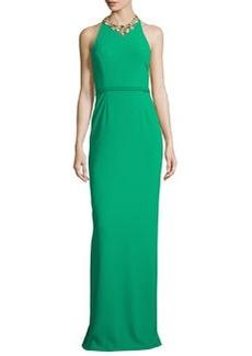 Marchesa Notte Sleeveless Embellished Halter Column Gown