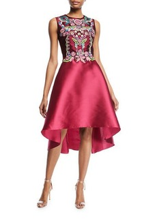 Marchesa Notte Sleeveless Embellished Mikado Mini Cocktail Dress