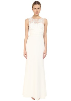 Marchesa Notte Sleeveless Embroidered Crepe Gown