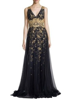 Marchesa Notte Sleeveless Embroidered Floral Tulle Gown