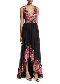 Marchesa Notte Sleeveless Embroidered High-Low Tulle Gown