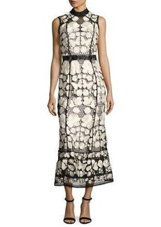Marchesa Notte Sleeveless Embroidered Lace Cocktail Dress