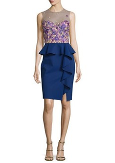 Marchesa Notte Sleeveless Embroidered Peplum Dress