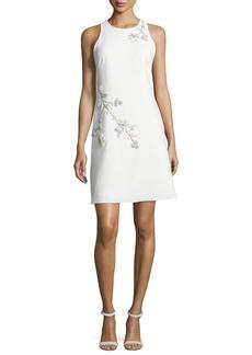 Marchesa Notte Sleeveless Embroidered Ponte Shift Dress