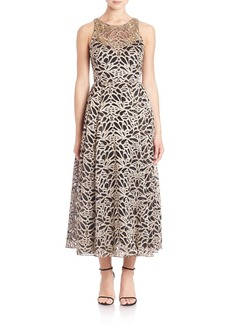 Marchesa Notte Sleeveless Embroidered Tea-Length Gown