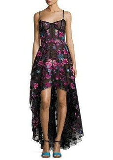 Marchesa Notte Sleeveless Embroidered Tulle High-Low Gown