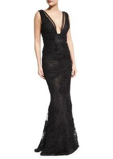 Marchesa Notte Sleeveless Embroidered Tulle Mermaid Gown