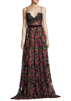 Marchesa Notte Sleeveless Floral-Embroidered Evening Gown w/ Lace