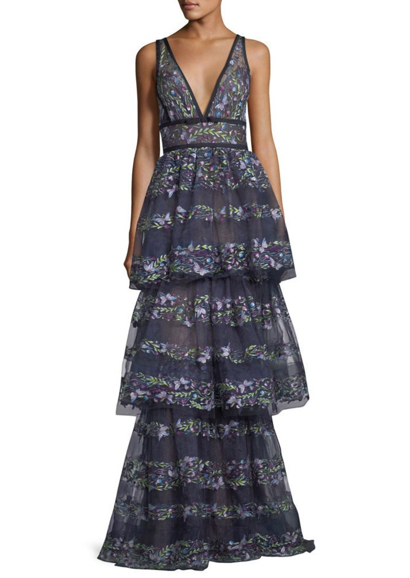86547377 Marchesa Marchesa Notte Sleeveless Floral-Embroidered V-Neck Gown ...