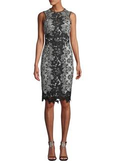 Marchesa Notte Sleeveless Lace Colorblock Dress