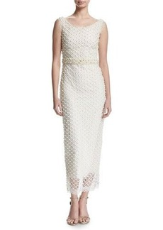Marchesa Notte Sleeveless Netted Beaded Midi Gown