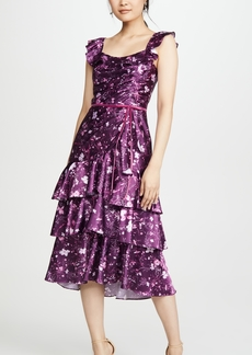 Marchesa Notte Sleeveless Printed Charmeuse Cocktail Dress