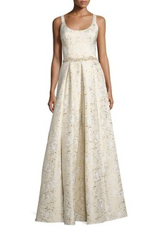 Marchesa Notte Sleeveless Scoop-Neck Embroidered Gown