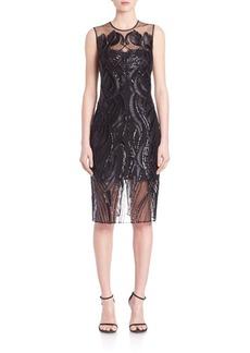 Marchesa Notte Sleeveless Sequined Dress