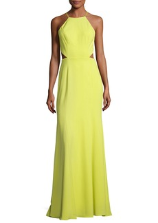 Marchesa Notte Sleeveless Strappy Stretch Crepe Gown