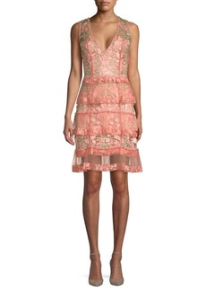 Marchesa Tiered Floral Cocktail Dress