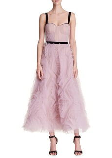Marchesa Notte Sleeveless Tulle Crystal Gown