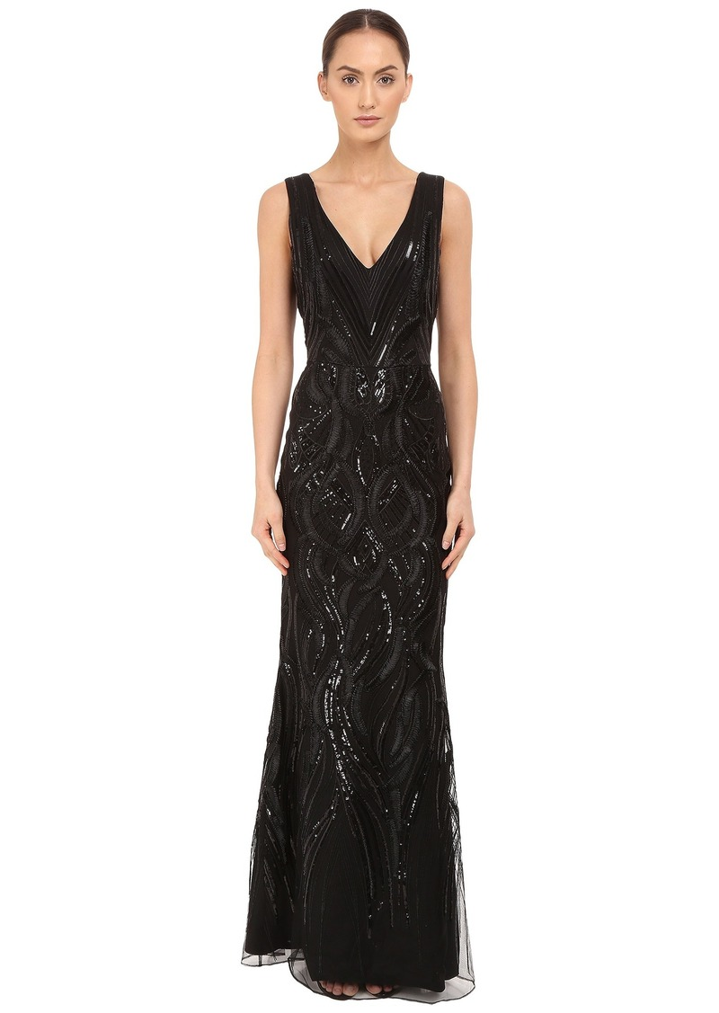 f53fbf5dc2cb Marchesa Notte Sleeveless V-Neck Gown with Sequin and Ribbon Embroidery