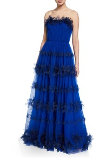 Marchesa Notte Strapless 3D Floral Stripe Tulle Ball Gown