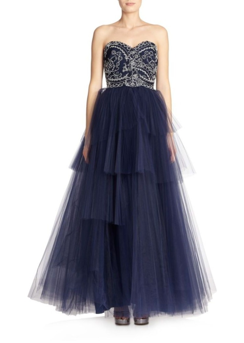 Marchesa Notte Strapless Corded Lace Ball Gown