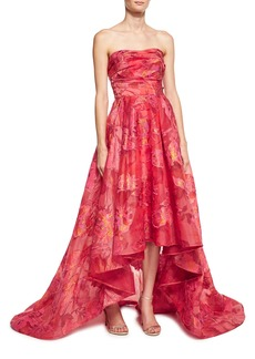 Marchesa Notte Strapless Floral Fil Coupe High-Low Gown