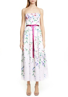 Marchesa Notte Strapless Floral Tea Length Dress