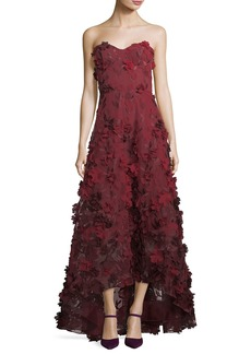 Marchesa Notte Strapless High-Low Floral Tulle Gown