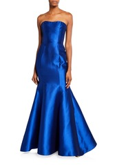 Marchesa Notte Strapless Mikado Pique Mermaid Gown with Back Draped Bow