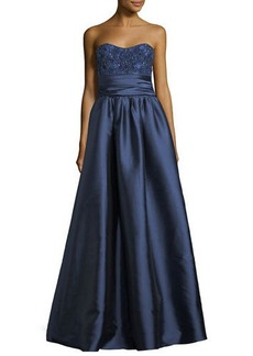 Marchesa Notte Strapless Sequined-Bodice Mikado Ball Gown