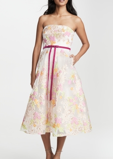 Marchesa Notte Strapless Tea Length Cocktail Dress