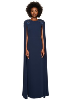 Marchesa Stretch Crepe Cape Gown w/ Beaded Shoulders