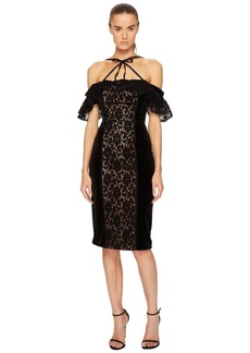 Marchesa Stretch Velvet Off Shoulder Gown