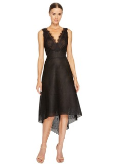 Marchesa Striped Neoprene V-Neck High-Low Lace Dress