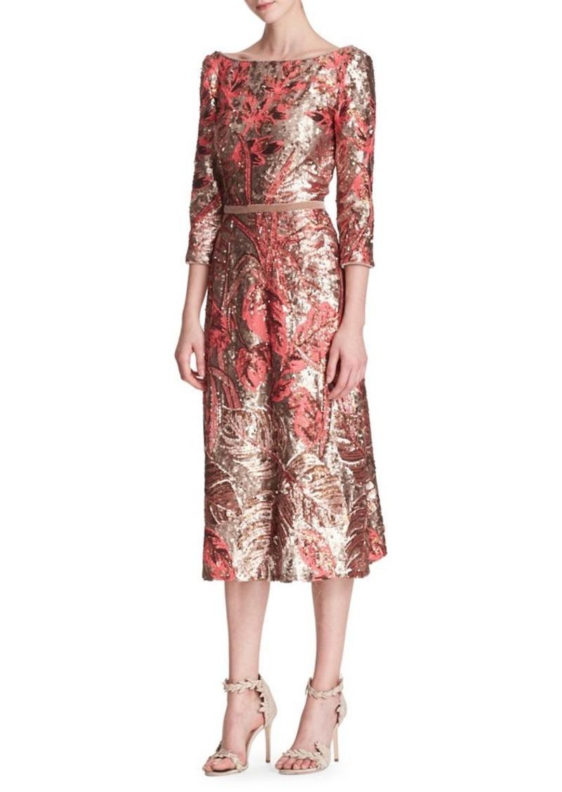 aa6d8885359a Marchesa Marchesa Notte Three-Quarter-Sleeve Sequin Midi Dress | Dresses