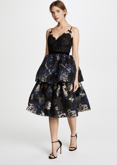 Marchesa Notte Three Tiered Cocktail Dress