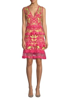 Marchesa Tiered Floral A-Line Dress