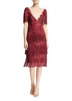 Marchesa Notte Tiered Fringe Knee-Length Cocktail Dress