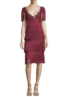 Marchesa Notte Tiered Fringe Knee-Length Cocktail Dress