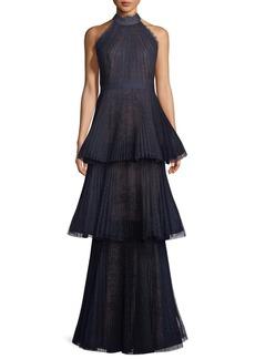 Marchesa Notte Tiered Halter Gown w/ Lace Trim