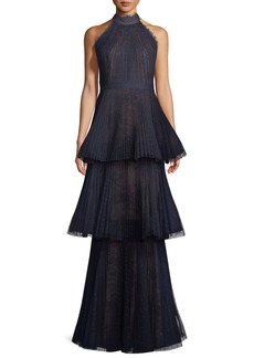 Marchesa Tiered Halter Gown w/ Lace Trim