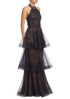 Marchesa Notte Tiered Halter-Neck Lace Gown