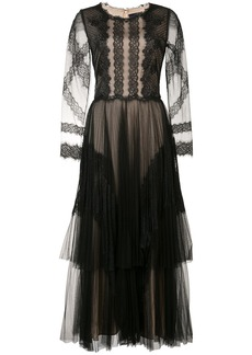 Marchesa Notte tiered pleated tulle and lace dress - Black