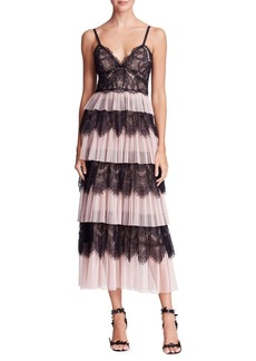 Marchesa Notte Tiered Tulle & Lace Dress
