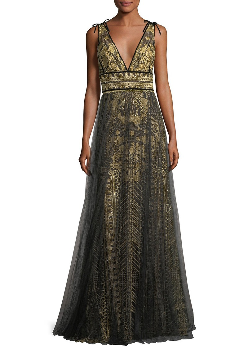 3ff867da01 SALE! Marchesa Tulle Overlay Sleeveless Embroidered Evening Gown