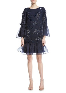 Marchesa Notte Tunic-Cut Cocktail Dress with 3D Flowers & Organza Ruffles