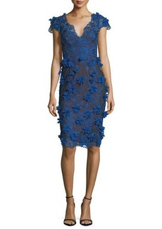 Marchesa Notte V-Neck 3D Petal Sheath Cocktail Dress